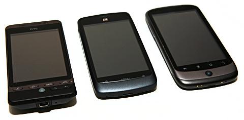 ZTE Blade omgiven av HTC Hero och Nexus One