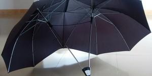 Dubbelparaplyet för romantiska promenader i regnet